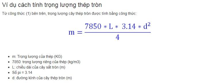 cách tính trọng lượng thép tròn