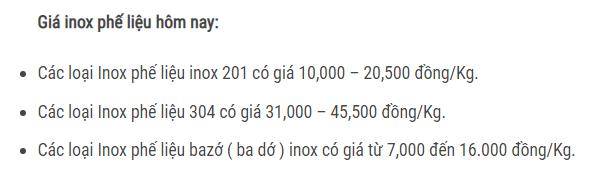giá inox phế liệu hôm nay